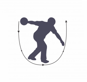 Arc of the swing in bowling